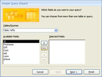 Access query wizard